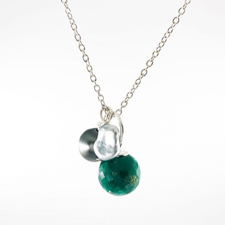 Silber Keshi Smaragd lange Silberkette