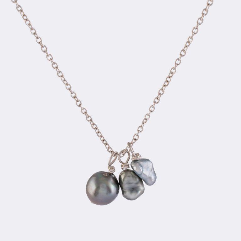 Kette Perlen Anhänger Silber