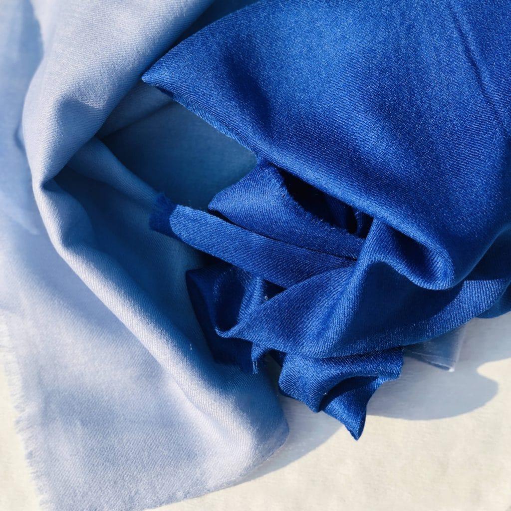 Kaschmir Schal Farbverlauf blau