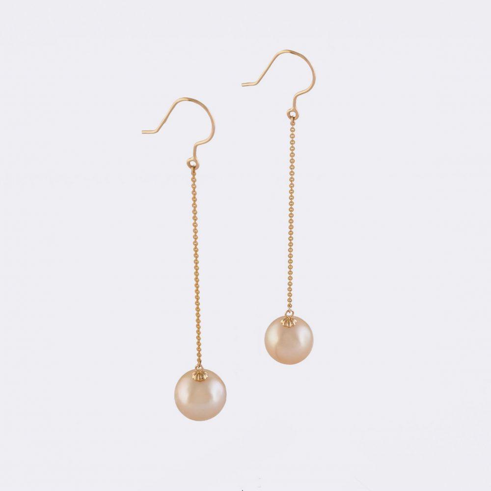 lange Ohrringe Gelbgold Perle