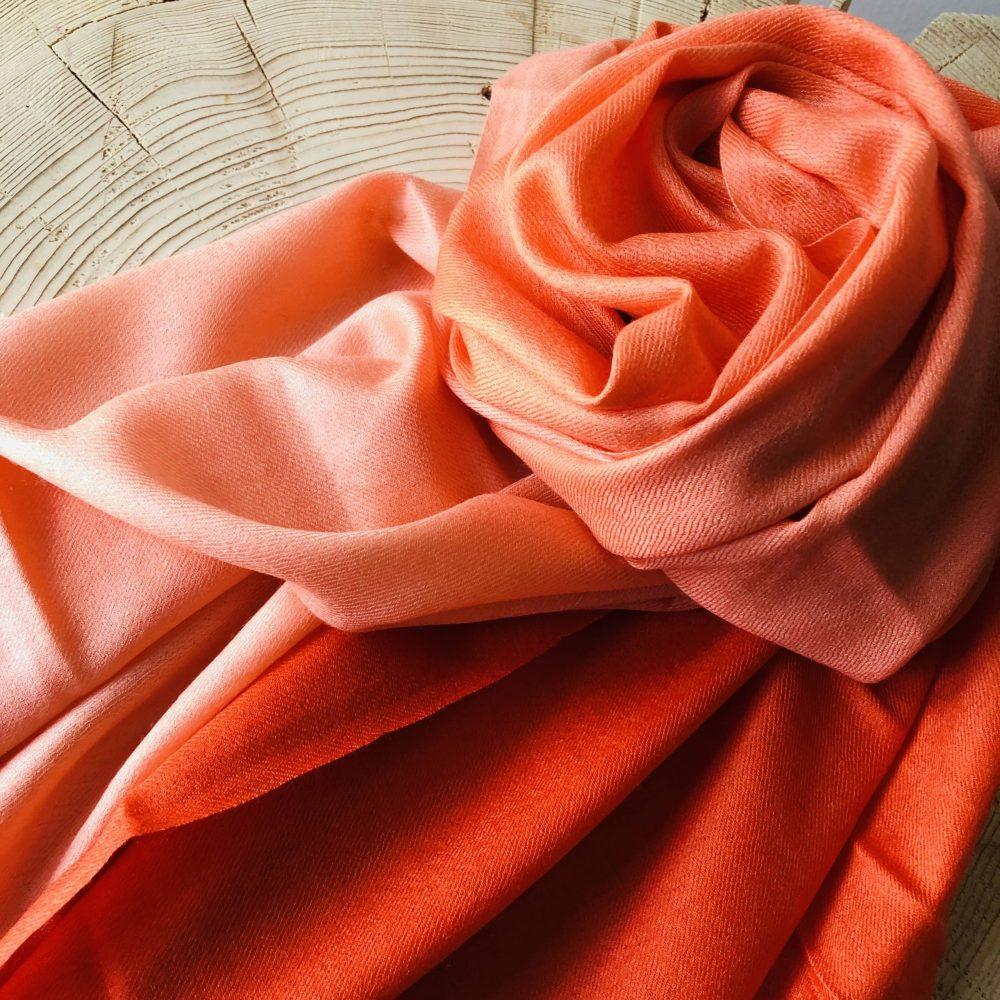 Kaschmir Schal Farbverlauf orange